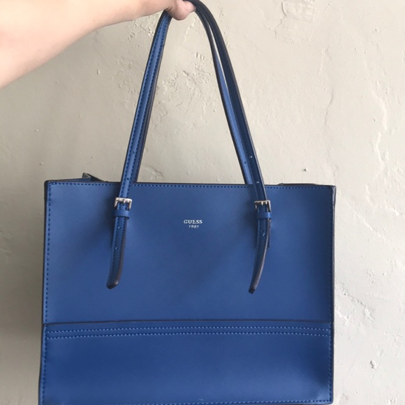 Guess Bags   Blue Leather Handbag   Poshmark 37d0d594fb